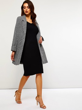 Houndstooth Double-Breasted Mid-Length OL Women's Overcoat