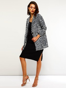 Zebra Stripe One Button Straight Mid-Length Women's Overcoat