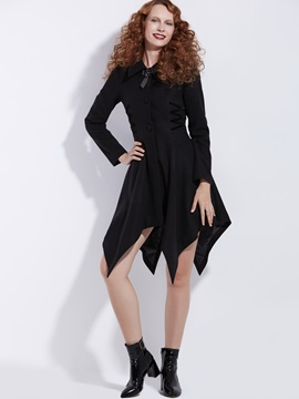 Single-Breasted High Waist Mid-Length Women's Overcoat