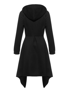 Slim Asymmetric Zipper Mid-Length Hooded Women's Overcoat