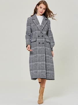 Plaid Double-Breasted A Line Long Notched Lapel Women's Overcoat