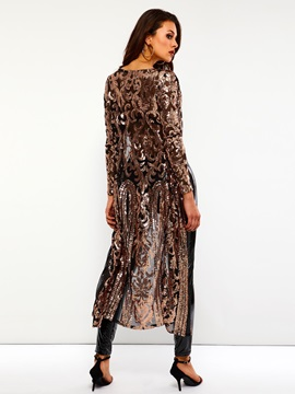 Sequins Wrapped Mid-Length Fall See-Through Women's Coat