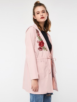 Embroidery Lace-Up Hooded Mid-Length Fall Women's Trench Coat