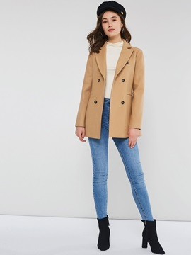 Wool Blends Double-Breasted Slim Mid-Length Fall Women's Overcoat