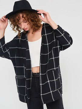 Plaid Wrapped Pocket Mid-Length Fall Women's Overcoat