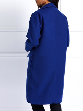 Pocket Wool Blends Mid-Length Notched Lapel Women's Overcoat