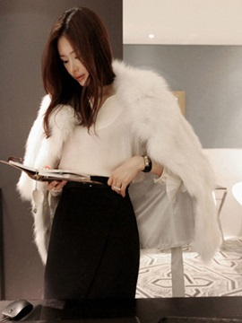 Mid-Length Notched Lapel Plain Thick Fall Women's Faux Fur Overcoat
