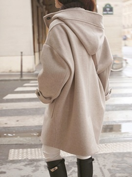 Loose Straight Mid-Length Hooded Horn Button Women's Overcoat