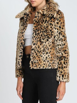 Leopard Standard Regular Slim Women's Faux Fur Overcoat