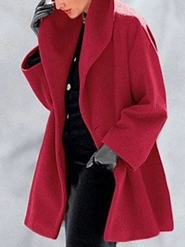 Patchwork One Button Loose Lapel Mid-Length Women's Overcoat