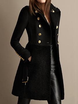 Regular Double-Breasted Patchwork Lapel Mid-Length Women's Overcoat