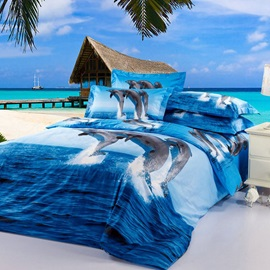 Popular Painting-Dolphin Cotton 4-Pieces Bedding Sets