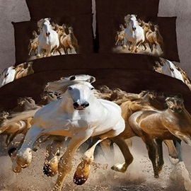 3D Painting-Running Horse Cotton 4-Piece Queen Size Duvet Covers