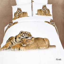 Elegant 4-Piece Cotton Animals Print Bedding Set