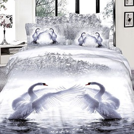 Elegant Swans Printed Cotton 4-Piece 3D Bedding Set