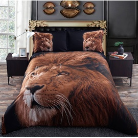 Golden Lion Head Printed 4-Piece 3D Bedding Sets/Duvet Cover