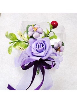 Eye-catching Purple Flower Wedding Corsage