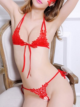 Floral Three-Point Lace Lace Sexy Bra Sets