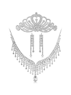Dramatic Alloy Tassels with Rhinestone Wedding Jewelry Set(Including Tiara,Necklace and Earrings)