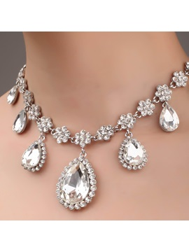 Grand Waterdrop Shaped Rhinastone and Alloy Necklace-HC