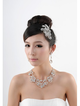 Great Round Alloy with Rhinestone Wedding Bridal Jewelry Set(Including Tiara,Necklace and Earrings)-HC