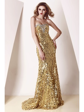 Luxury Sweetheart Sequins Floor-length Beading Sweep Train Evening Dress