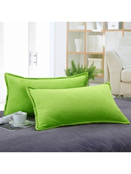Ultra Supple Shortplush Warm Solid Single Pillowcase One Pair(Green)