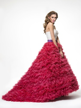 Lace Tiered Ruffles Lace-up Sweep Train Floor-Length Ball Gown Dress
