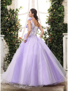 One-Shoulder Flowers Fur Lace-up Floor-Length Quinceanera Dress
