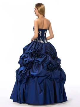 Vintage Sweetheart Appliques Pick-ups Flowers Beading Lace-up Ball Gown/Quinceanera Dress