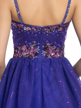 A-line Spaghetti Straps Appliques Sequins Floor-Length Quinceanera Dress