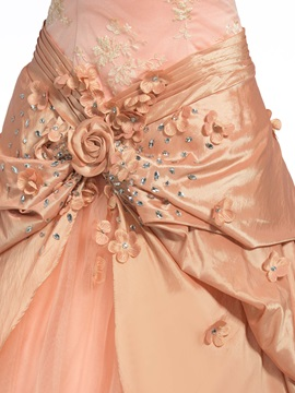 Vintage Off the Shoulder Lace Flowers Beading Long Ball Gown Dress