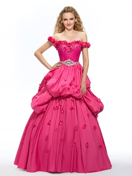 Off-the-Shoulder Lace Beading Flowers Quinceanera Dress