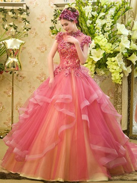 Dramatic High Neck Lace Cap Sleeves Beading Lace-up Long Ball Gown Dress