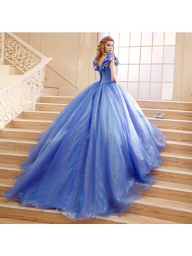 Straps Ball Gown Pick-ups Appliques Quinceanera Dress