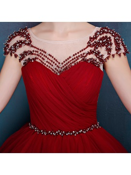 Dramatic Scoop Neck Cap Sleeves Pearls Ball Gown Quinceanera Dress