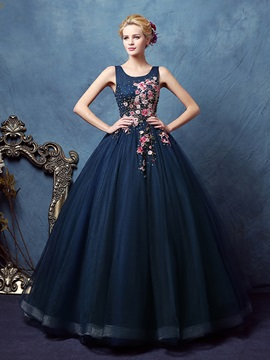 Vintage Straps Appliques Beading Ball Gown Dress