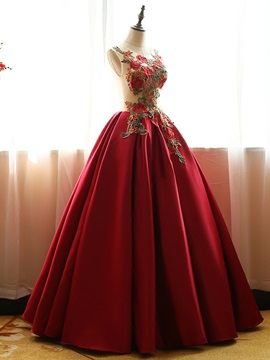 Vintage Scoop Appliques Beading Lace-Up Ball Gown Dress