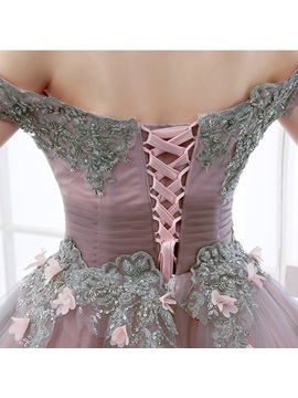Vintage Ball Gown Off-the-Shoulder Beading Flowers Floor-Length Quinceanera Dress