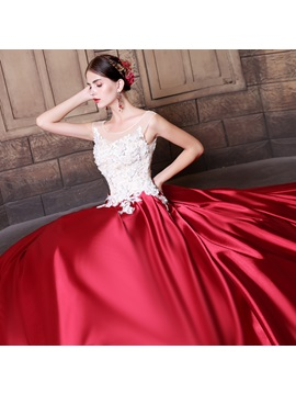 Charming Sequins Scoop Ball Gown Appliques Court Train Quinceanera Dress
