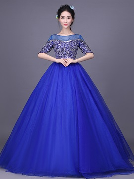 Noble Half Sleeves Off-the-Shoulder Ball Gown Beading Floor-Length Quinceanera Dress