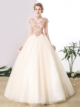 Stylish High Neck Ball Gown Appliques Beading Floor-Length Quinceanera Dress
