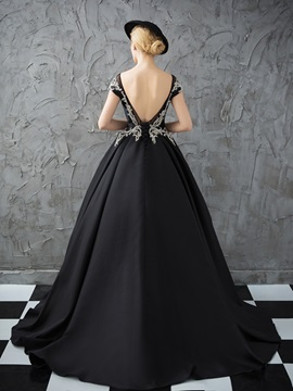 Hot Scoop Ball Gown Cap Sleeves Beading Crystal Quinceanera Dress
