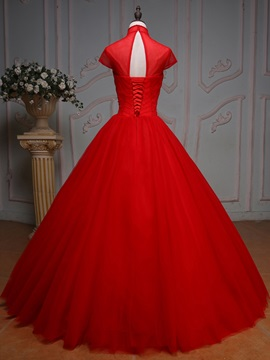 High Neck Beading Crystal Pleats Long Quinceanera Dress