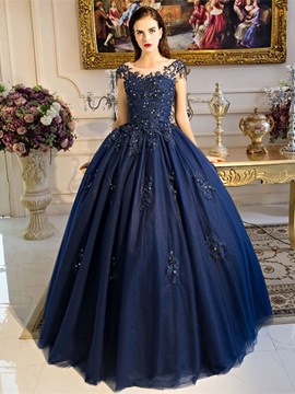 Beading Scoop Pearls Appliques Quinceanera Dress