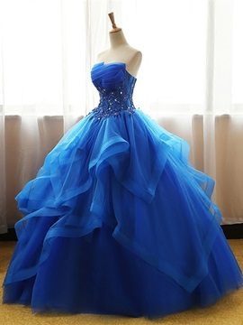 Strapless Appliques Beading Ball Gown Quinceanera Dress