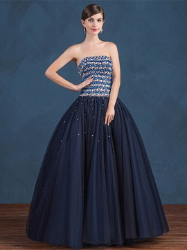 Strapless Ball Gown Beading Floor-Length Quinceanera Dress