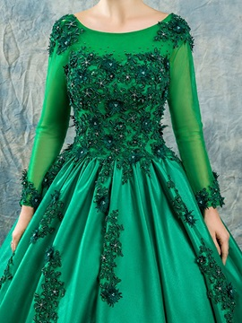 Scoop Neck Appliques Beaded Long Sleeves Quinceanera Dress