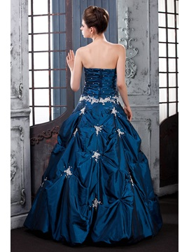 Vintage Sweetheart Pick-ups Appliques Floor-Length Lara's Ball Gown Dress