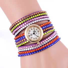Multi-layer Colored Rhinestone Decorated Bracelet Watch